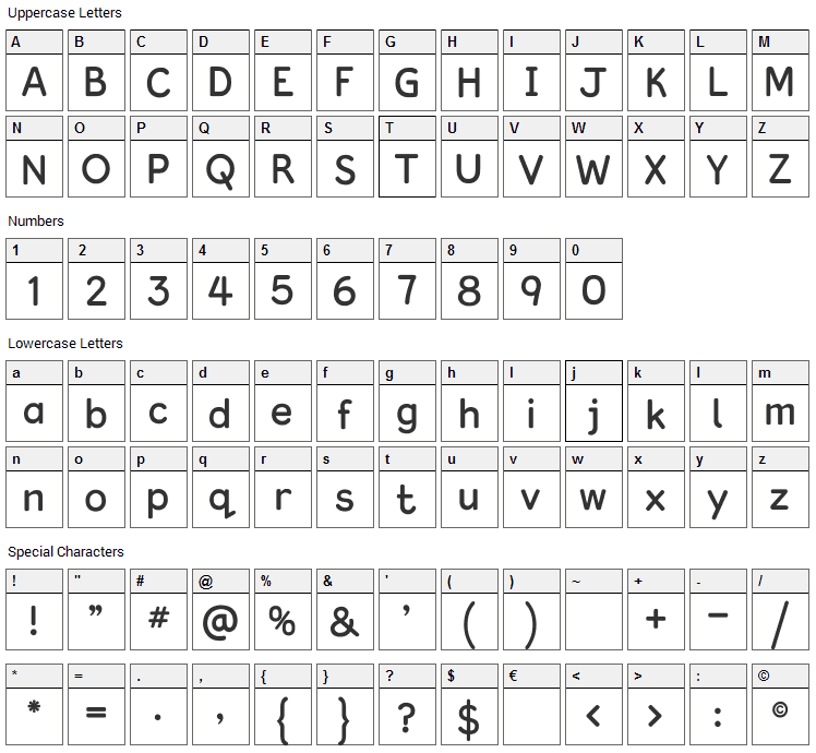 Kingthings Clarity Font Character Map