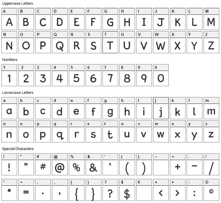 Kingthings Clarity Font Character Map