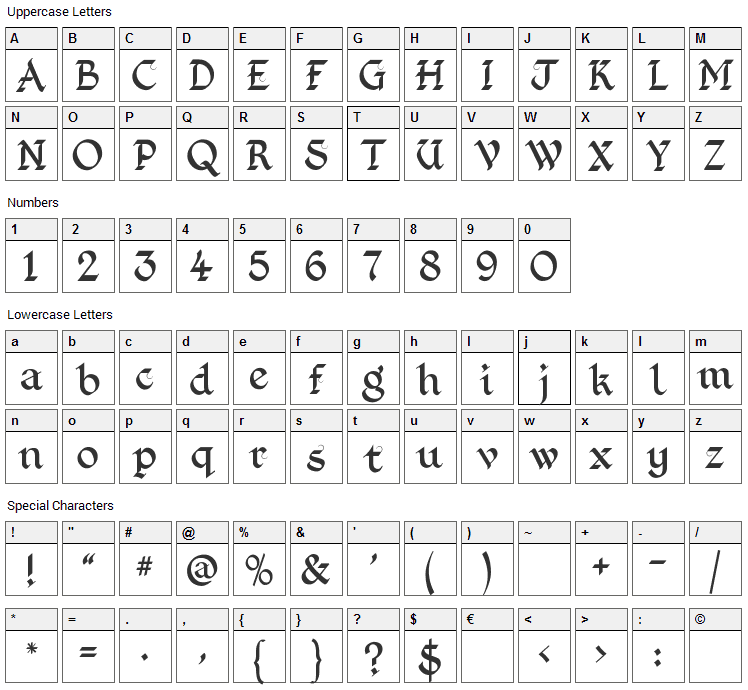 Kingthings Foundation Font Character Map