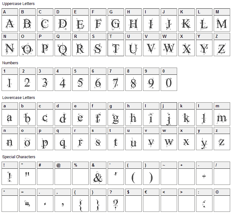 Kingthings Frontwards Font Character Map