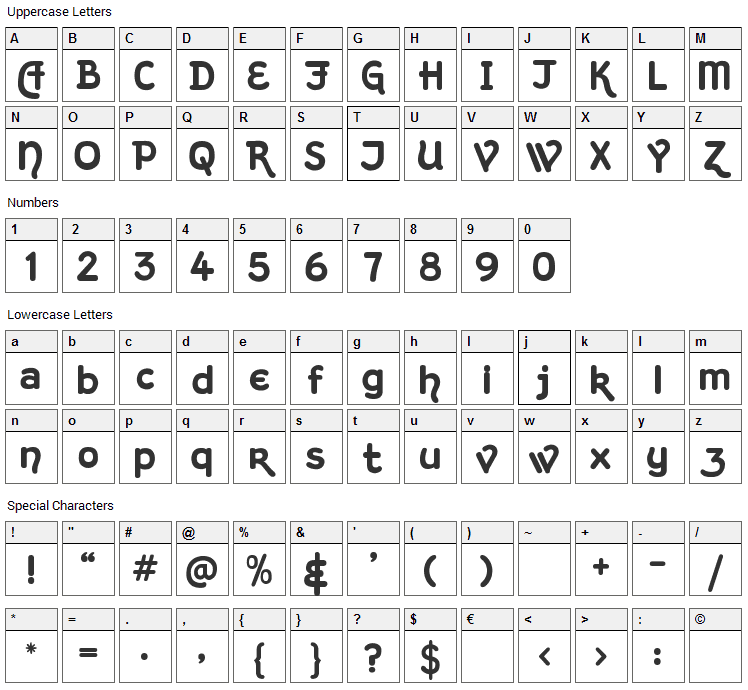 Kingthings Hand Font Character Map