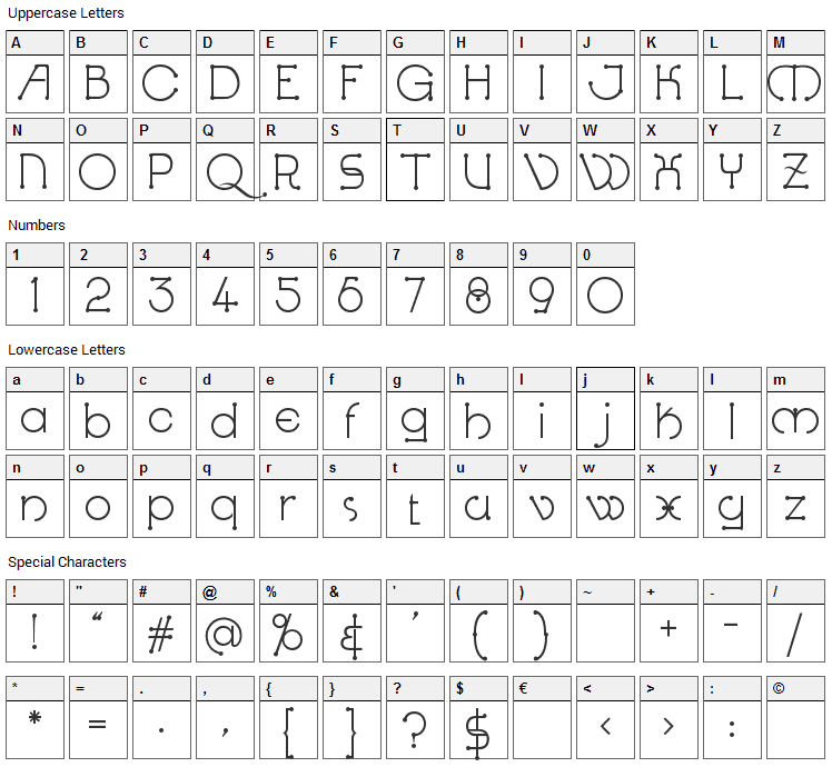 Kingthings Knobson Font Character Map