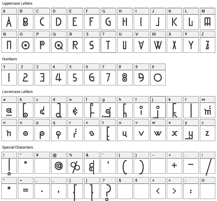 Kingthings Linear K Font Character Map