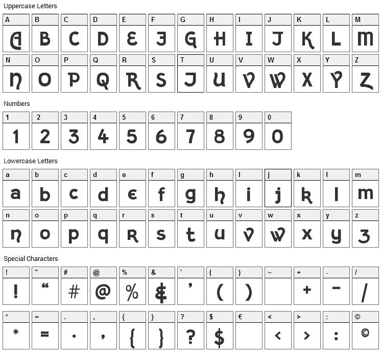 Kingthings Sans Font Character Map