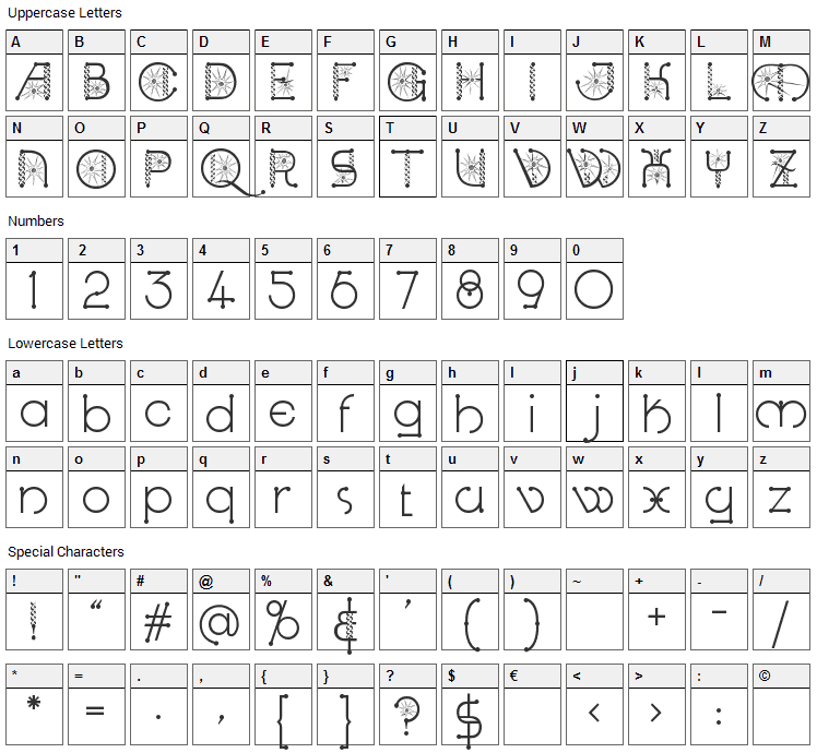 Kingthings Spirogyra Font Character Map