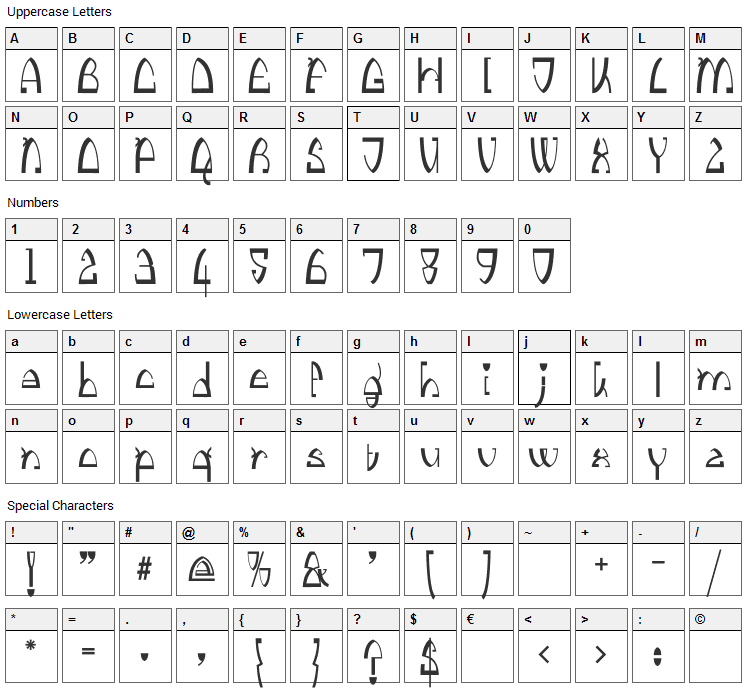 Kingthings Stirrup Font Character Map