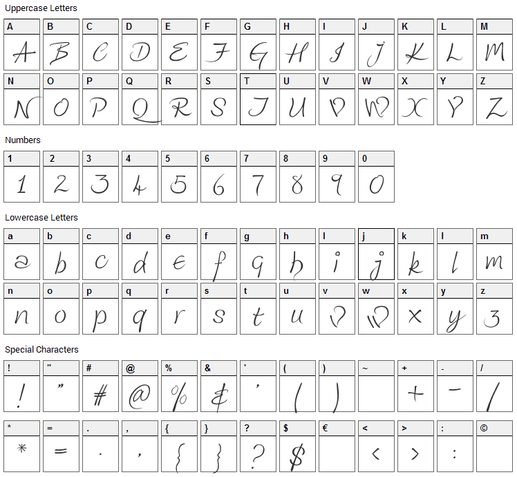 Kingthings Wrote Font Character Map
