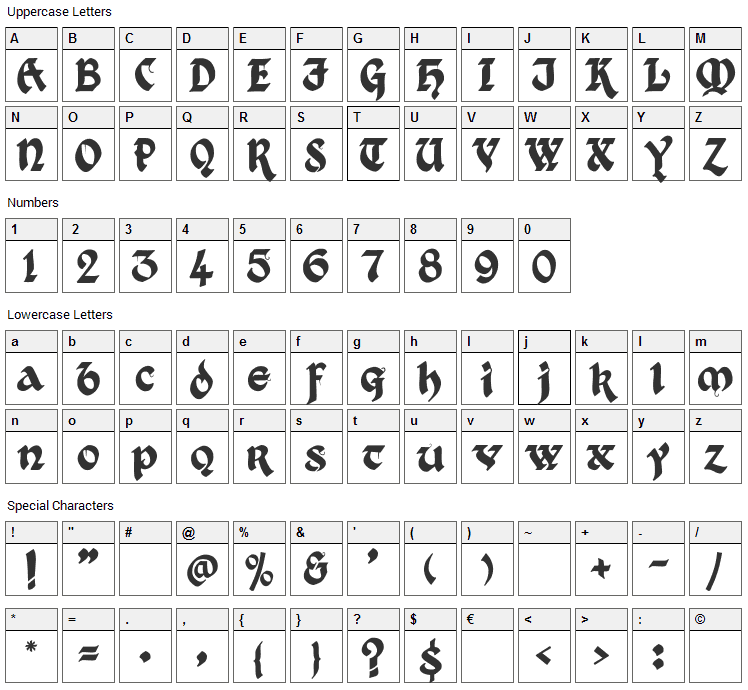 Kingthings Xander Font Character Map