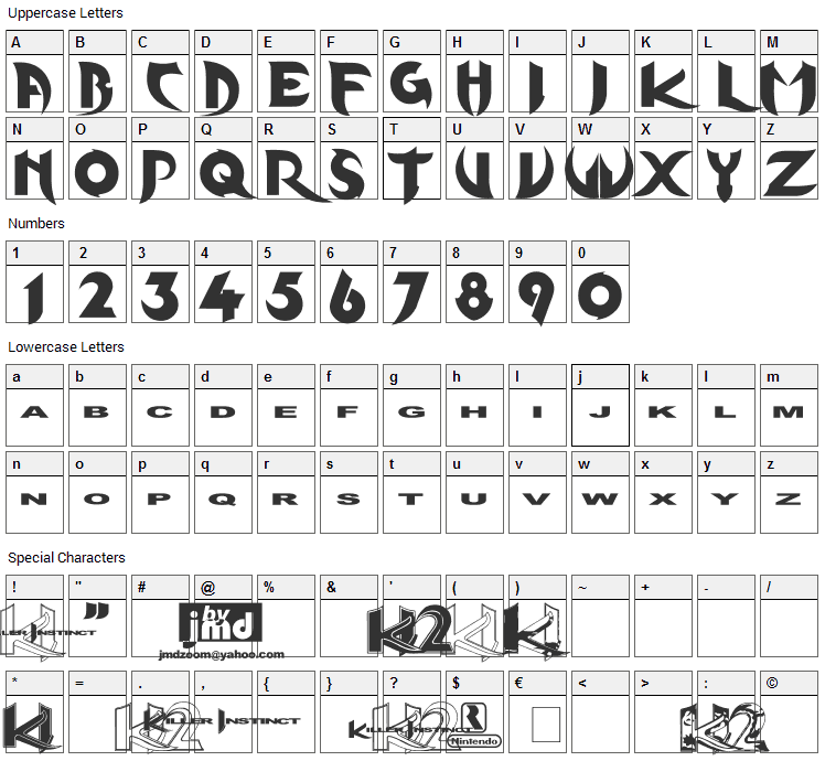 KInifed Font Character Map
