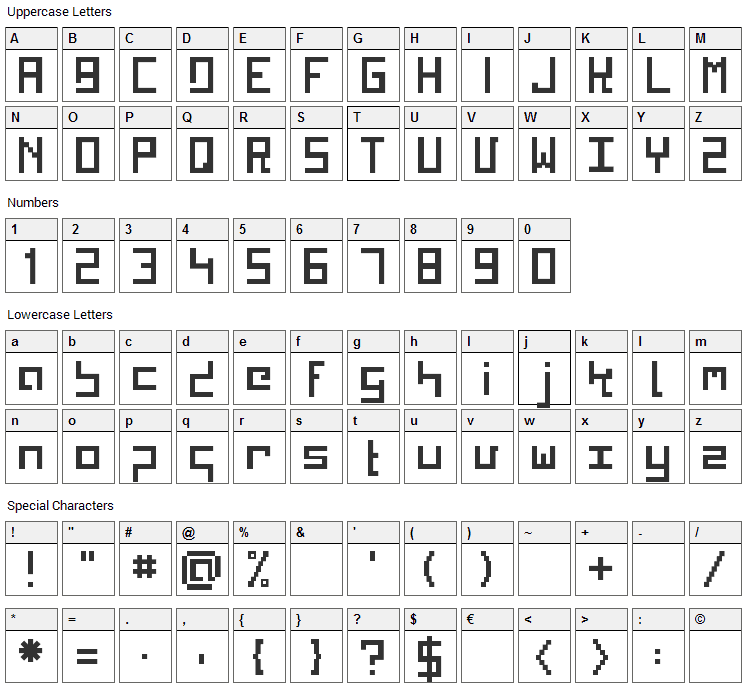 Kinkub Flat Font Character Map