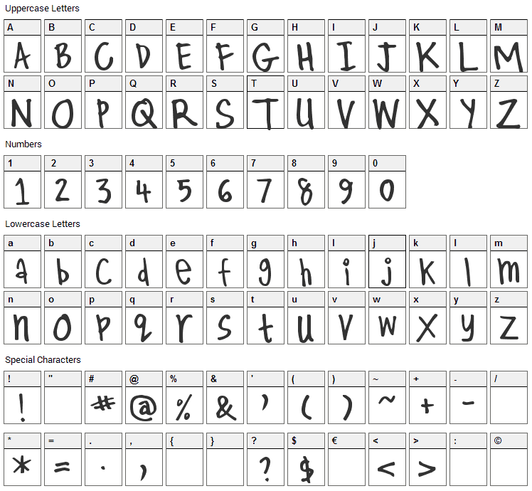 Kirby Font Character Map