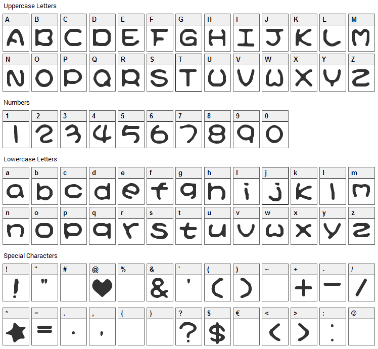 Kirby No Kira Kizzu Font Character Map