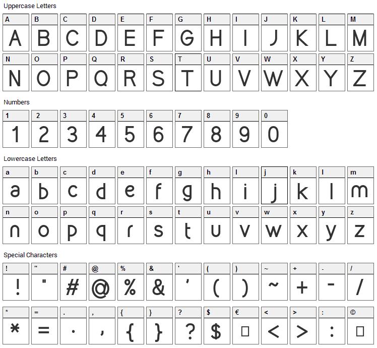Kirvy Font Character Map