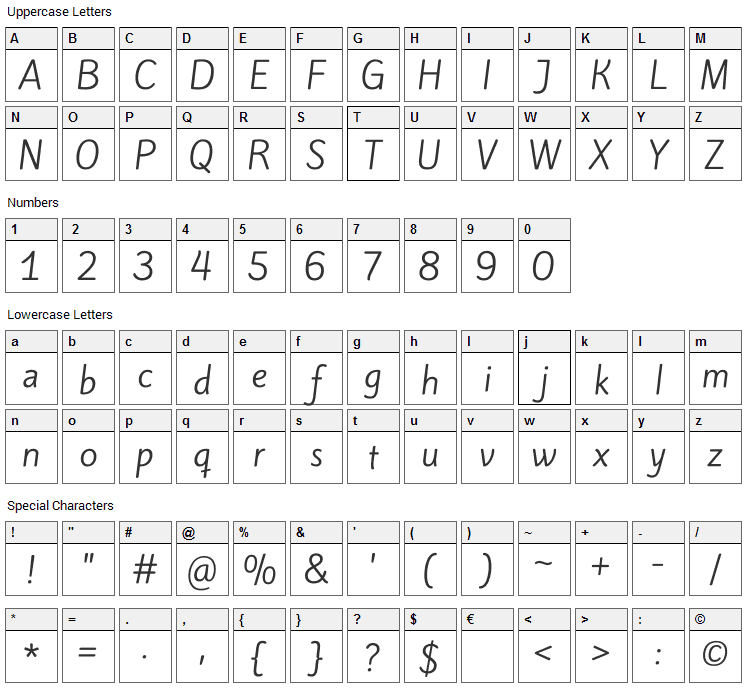 Kite One Font Character Map