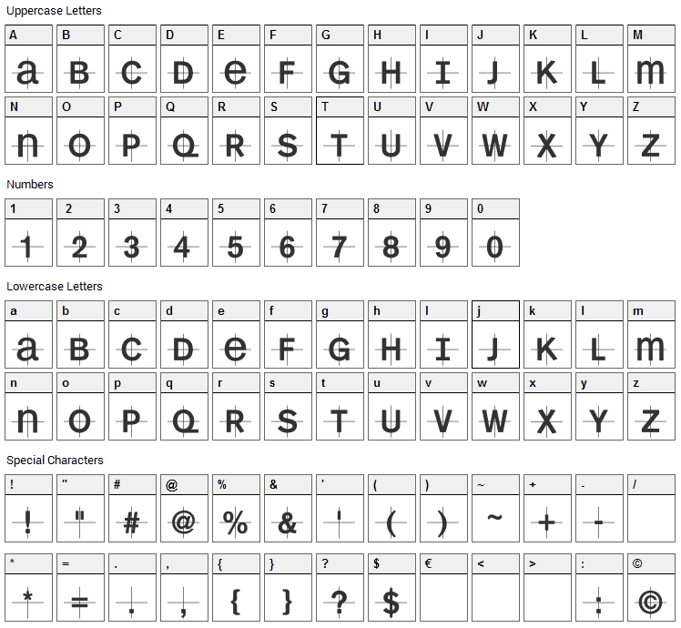 KL1MonoCase Font Character Map