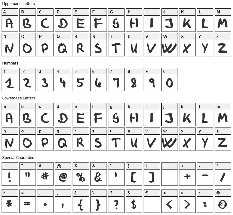 Klaus Johansen Font Character Map