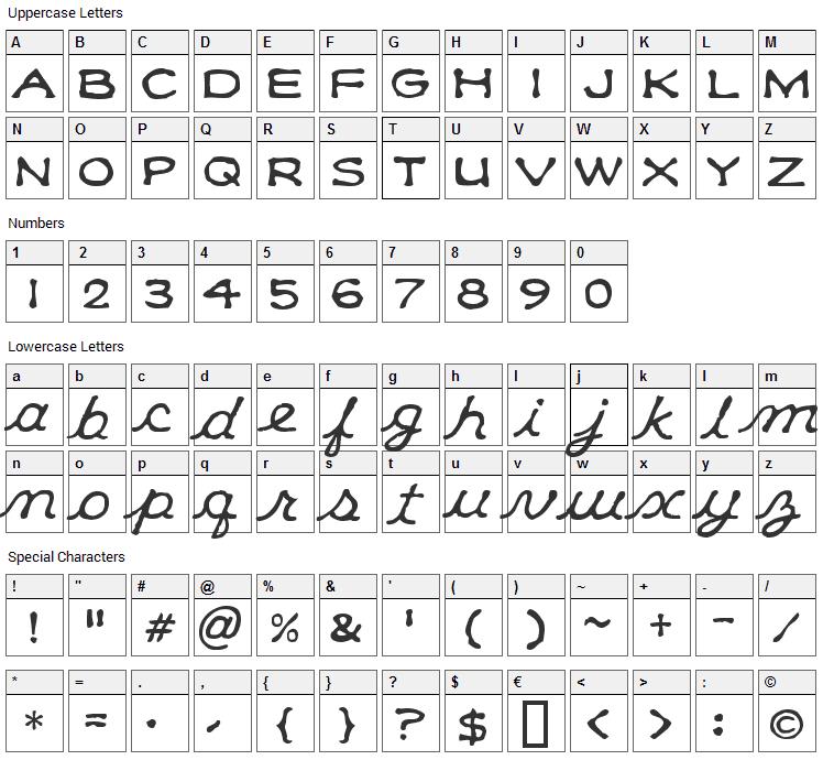 Klee CapScript Font Character Map