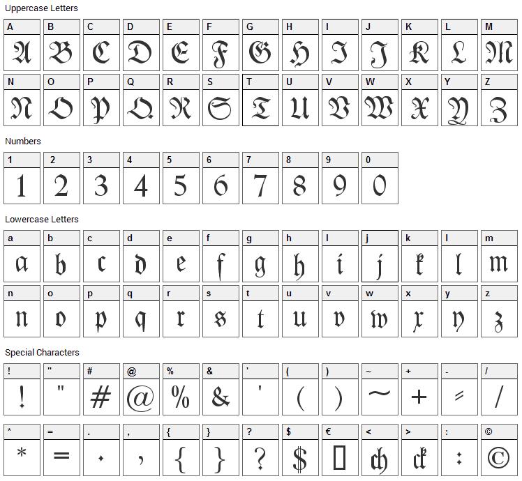 Kleist-Fraktur Font Character Map