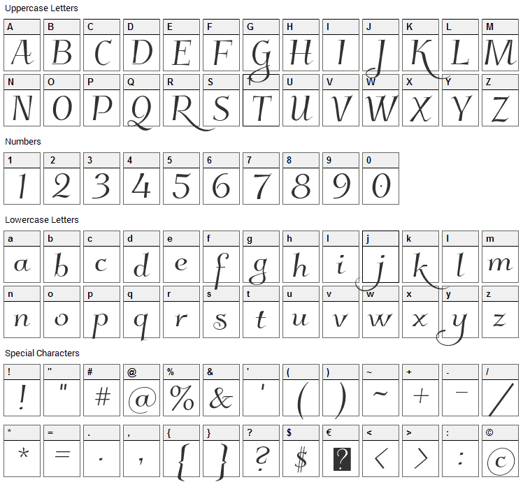 Kleymissky Font Character Map