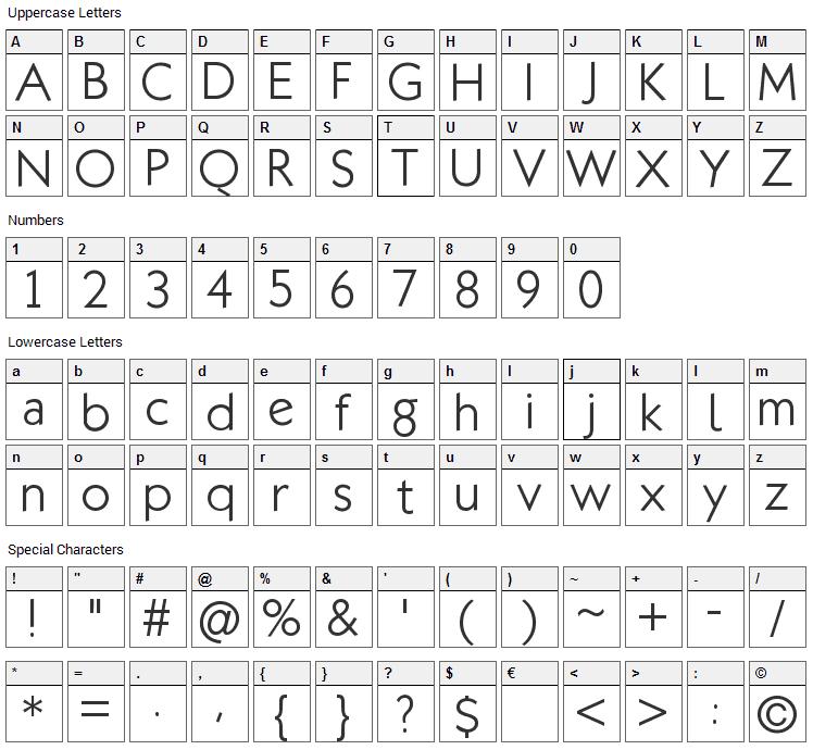 Klill Font Character Map