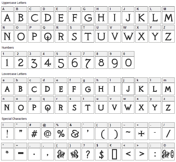 Knights Quest Font Character Map