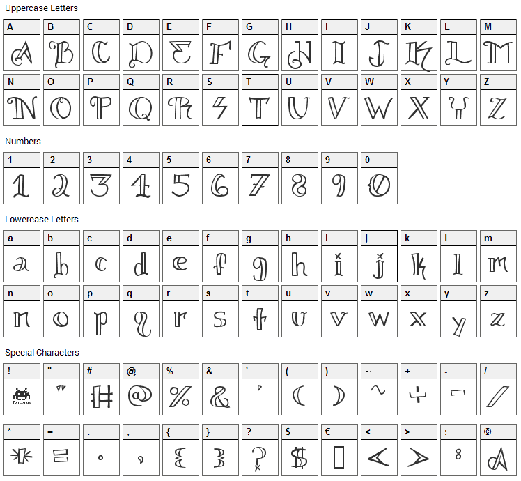 Knuckel Tatz Font Character Map
