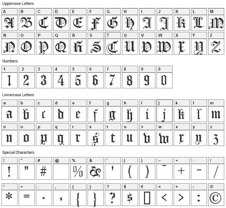 Koenigsberger Gotisch Font Character Map