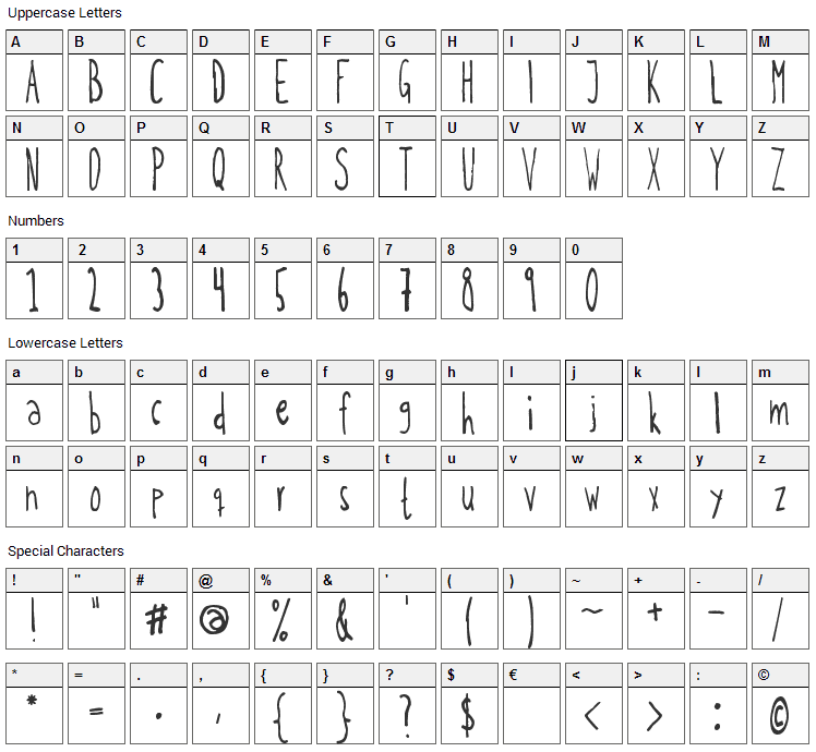 Kohicle 25 Font Character Map