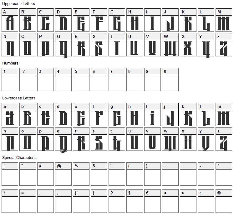 Kolja Font Character Map