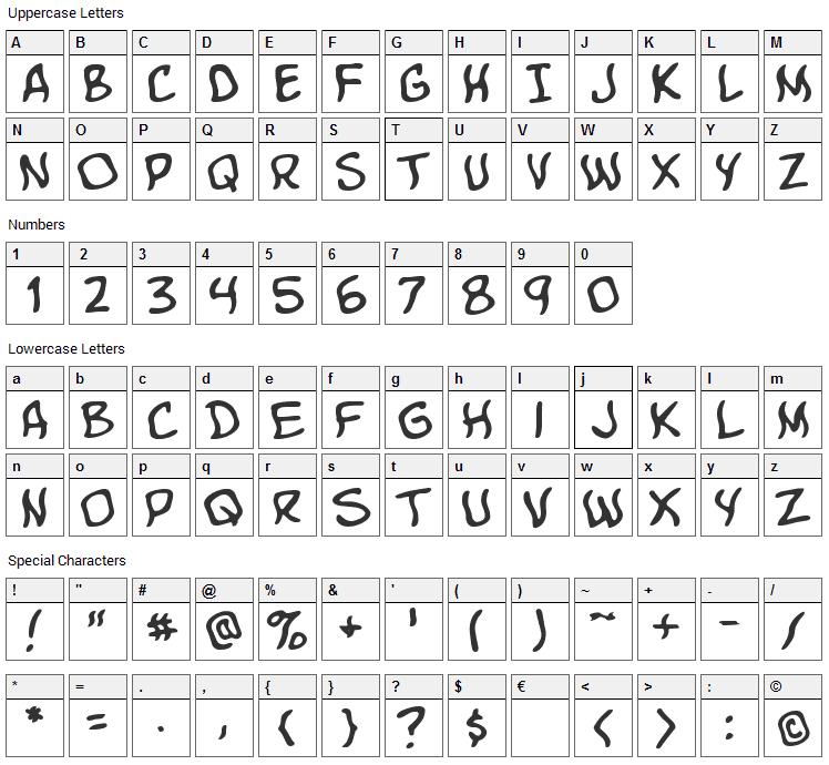 Komika Boo Font Character Map