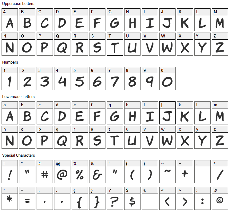 Komika Hands Font Character Map