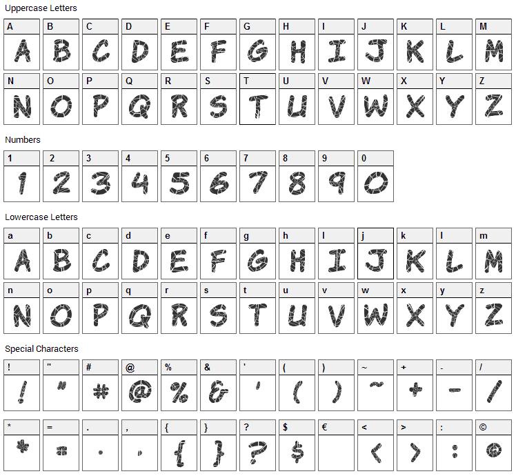 Komika Krak Font Character Map