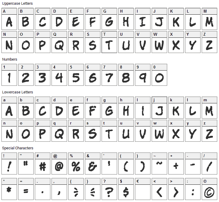 Komika Parch Font Character Map