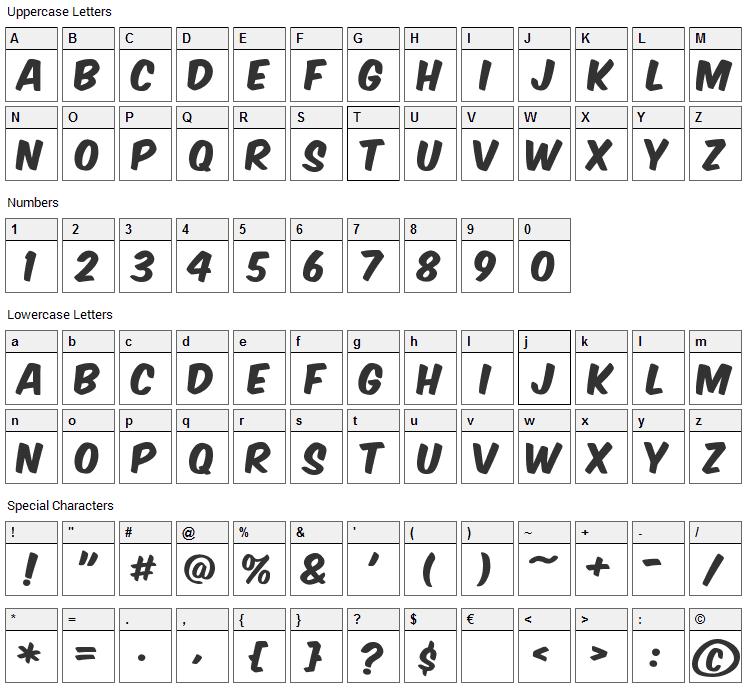 Komika Poster Font Character Map