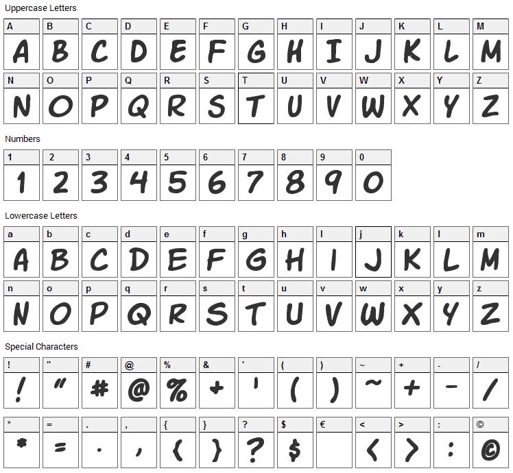 Komika Slick Font Character Map