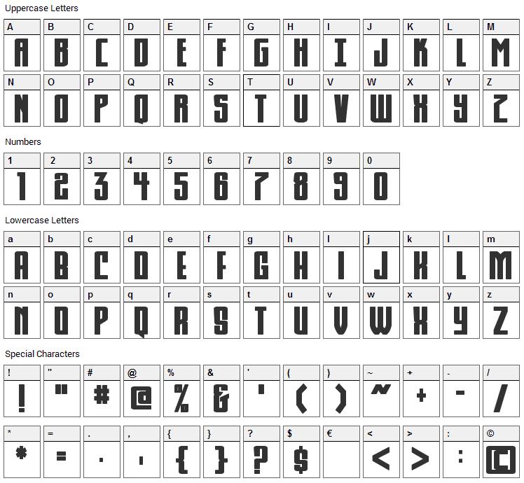 KomikaHuna Font Character Map