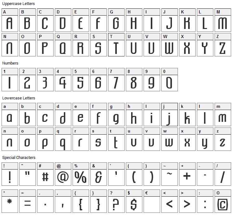 Komikazba Font Character Map