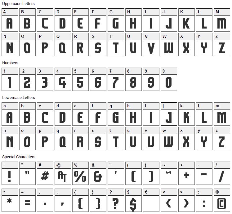 Komikazoom Font Character Map