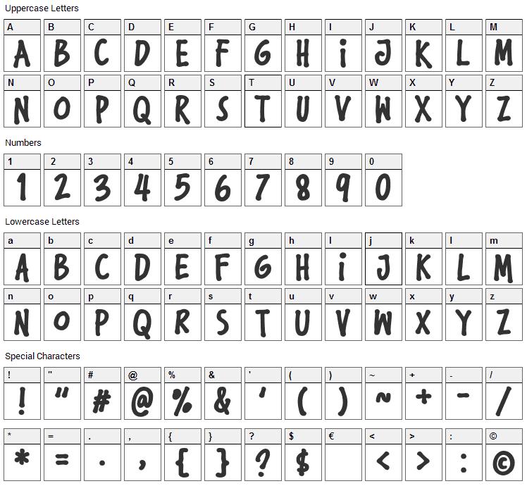 Komikula Font Character Map