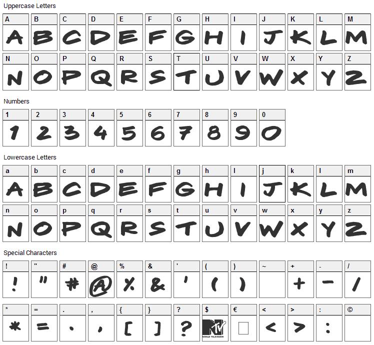 Komix Font Character Map