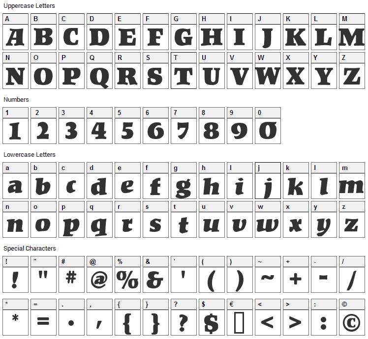Kompakt Font Character Map