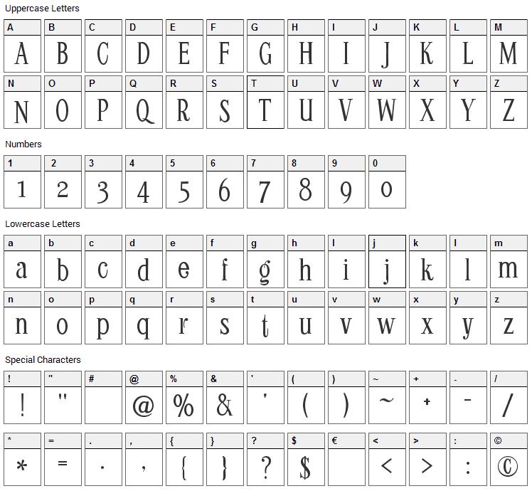 Kontor Display Font Character Map