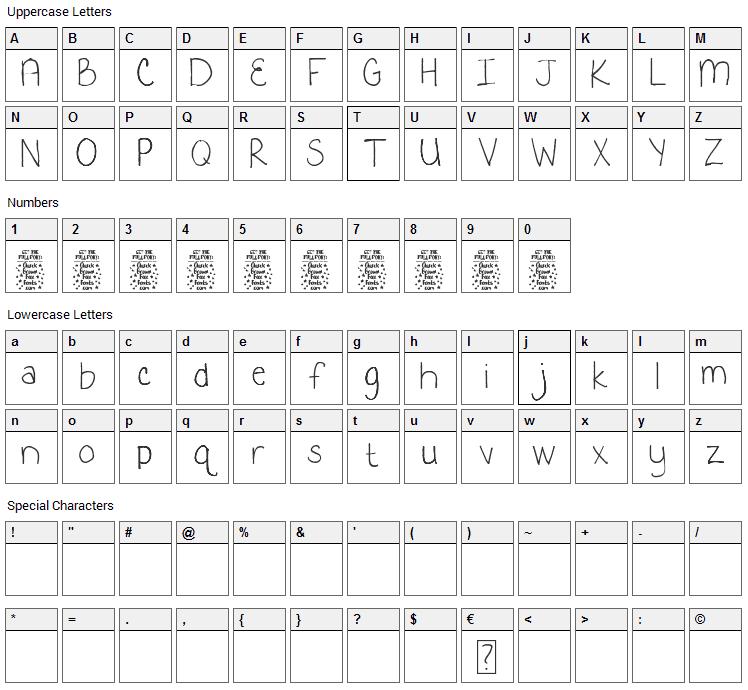 Kooky Kieran Font Character Map