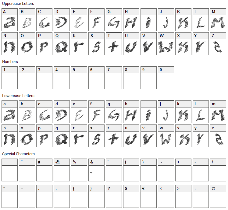 kooler O Font Character Map
