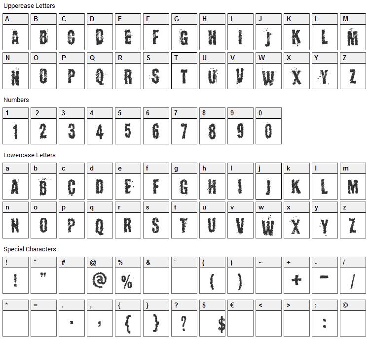 Kopanyica Strasse Font Character Map