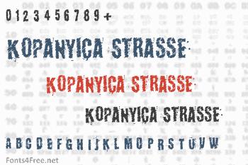 Kopanyica Strasse Font