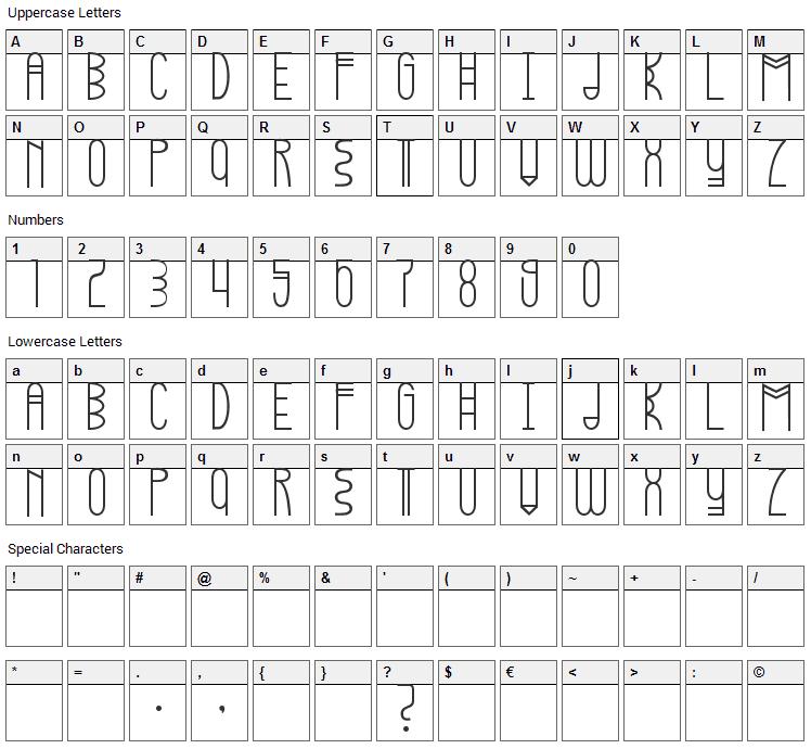 Kopleng Font Character Map