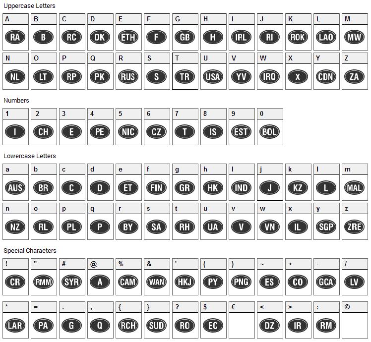 Kountry Kodes Font Character Map