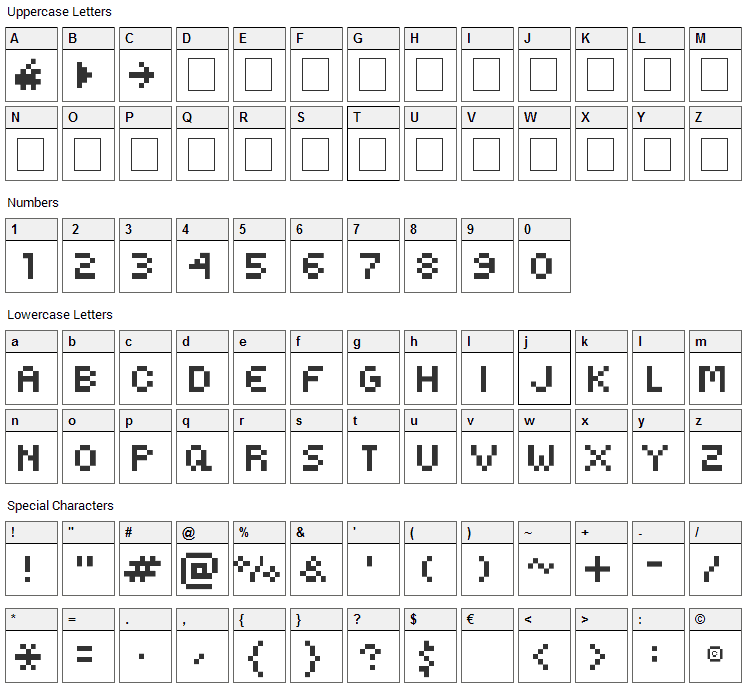 Kovensky Font Character Map