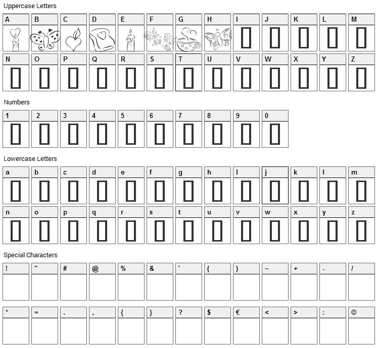 KR Cuori Divertenti 3 Font Character Map